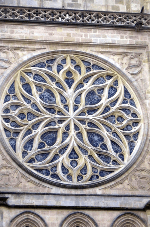 The beautiful rose window in Bordeaux Cathedral