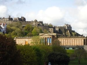 The National Gallery with Edinburgh Castle in the background.