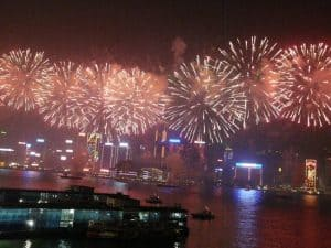 Chinese New Year fireworks light up Hong Kong