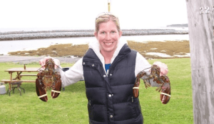 Jill getting ready to eat lobster!