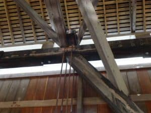 Massive timbers were used in most covered bridge constructions