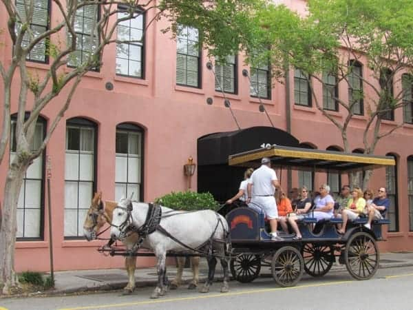 A horse and carriage ride through the city