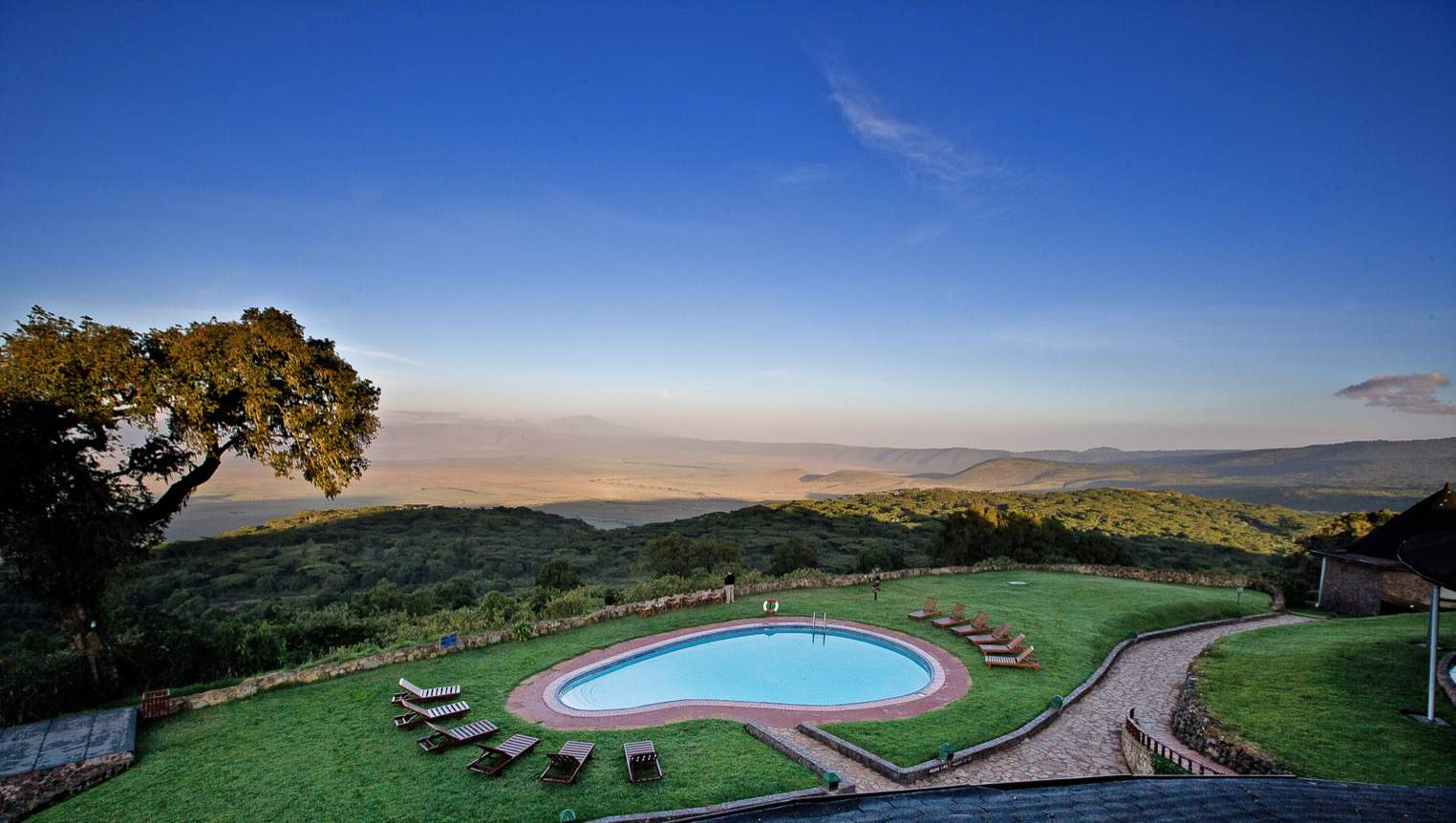 view over the Ngorongoro crater from the lodge